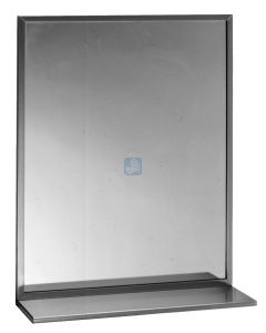 """Stainless steel Channel Framed Mirror With Shelf - th x 24"""" Leng"""