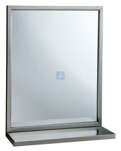 """Stainless Steel Angle Frame Mirror 24""""W x 36""""L with Shelf"""