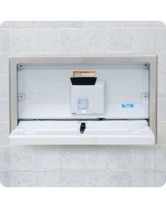 KB100-05ST Baby Changing Station Standard Horizontal with Stainless Steel Flange Recess Mount White Granite Color