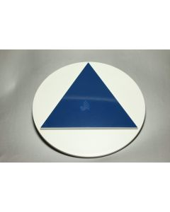All Gender Bathroom Door Sign - Round with Blue Triangle